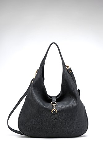 Tosca Slouchy Dog Clip Hobo Handbag (Black1)