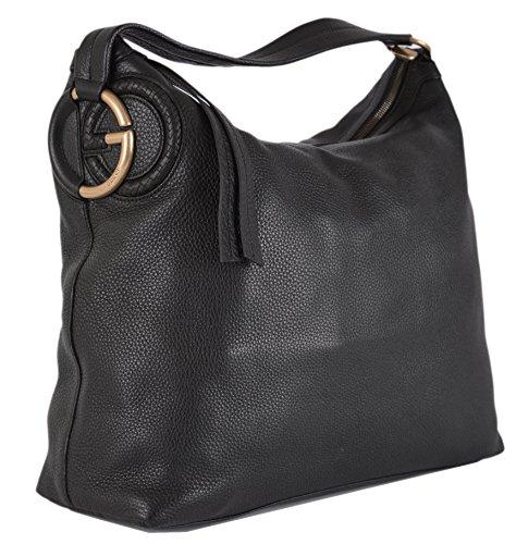 Gucci Women's Black Textured Leather G Logo Zip Top Handbag