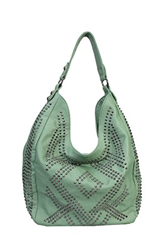 Rimen & Co. Solid Rhinestone Bling Pattern Style Hobo Zippered Closure Leather Purse Handbag