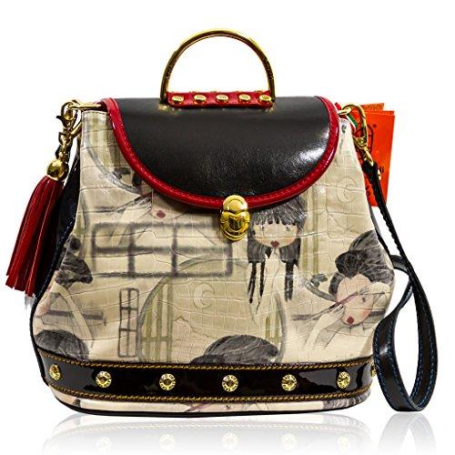 Marino Orlandi Italian Designer BAMBINA Glazed Printed Leather Purse Sling Bag