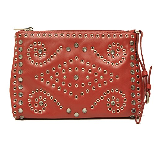 Prada 1N1825 Rosso Red Soft Calf Borch Leather Studded Wristlet Clutch