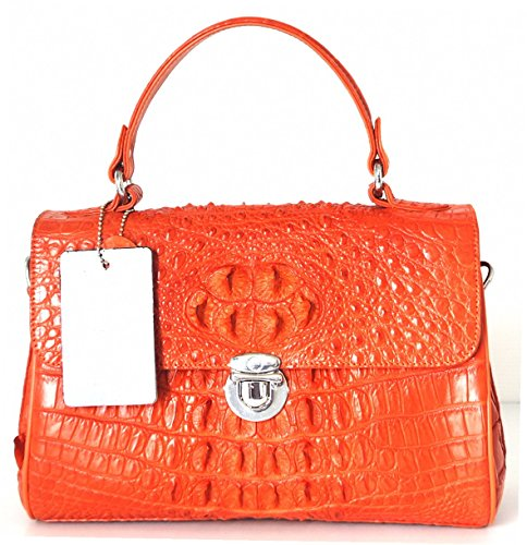 +ThaiPremiumHouse+HORNBACK GENUINE CROCODILE LEATHER HANDBAG CLUTCH BAG PURSE SHINY ORANGE SILVER BUTTON W/Strap