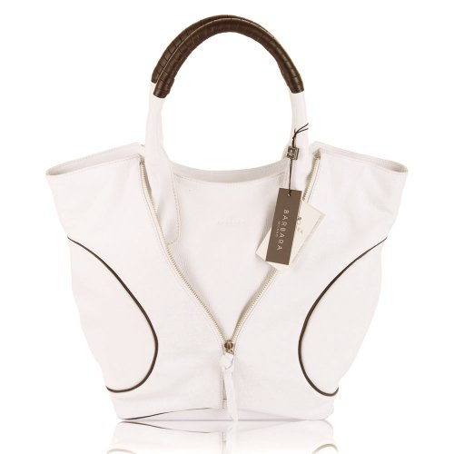 BARBARA MILANO Italian Made White & Brown Leather Designer Tote Handbag