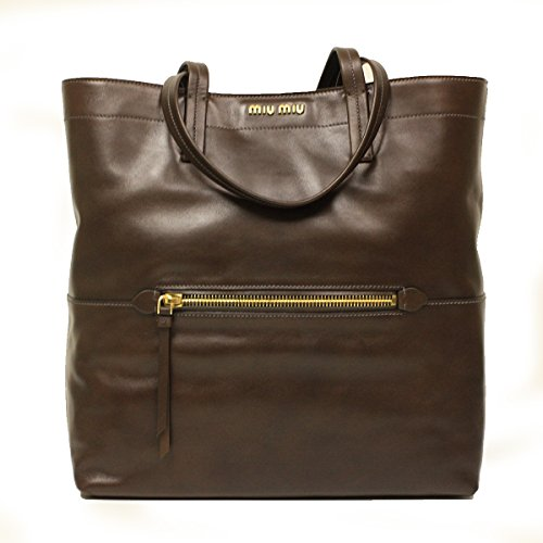 Miu Miu RR1820 Vitello Soft Brown Leather Shopping Tote Bag