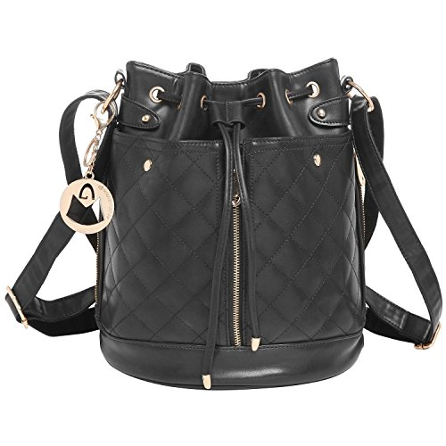 MG Collection EVA Black Quilted Bucket Tote Convertible Shoulder Bag / Backpack