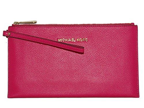 Michael Kors Bedford Large Leather Zip Clutch – Raspberry
