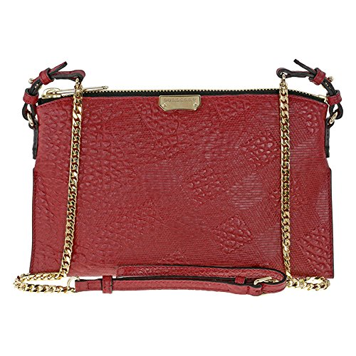 Burberry Peytone Military Red Embossed Check Leather Crossbody Bag