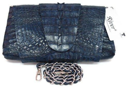100% Genuine Crocodile Hornback to BIG Tail Leather Clutch Handbag Purse Black