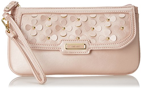 Nine West Table Treasures E and W Petal Wristlet, Peach Rose, One Size