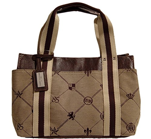 Tommy Hilfiger Small Tote Bag Handbag Purse, Brown