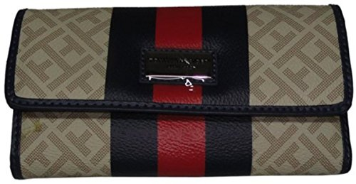 Tommy Hilfiger Women's Clutch Wallet Checkbook Red Beige Navy Stripe