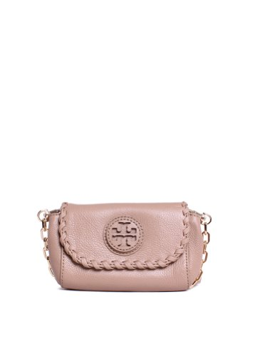 Tory Burch Leather Marion Crossbody Clay Beige