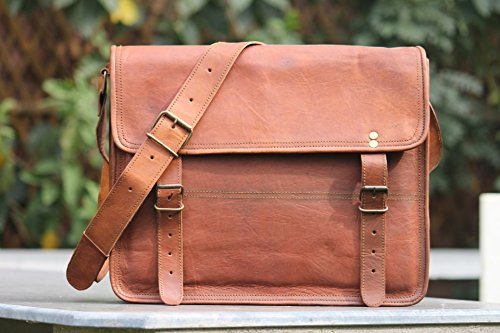 "Scotchleather 14"" Genuine Leather Laptop Briefcase Messenger Bag Satchel Brown"