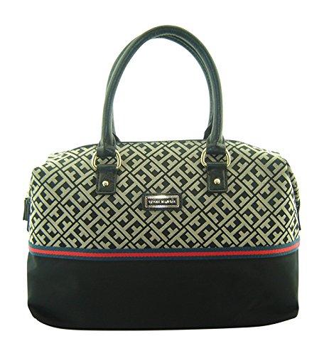 Tommy Hilfiger Bowler Satchel Handbag Black Multi