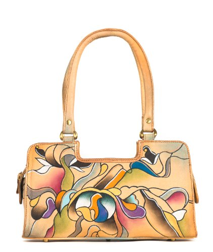 Zimbelmann – Womens Baguette Top – Handle Bag – made of genuine Nappa Leather – multicoloured handpainted – Whitney