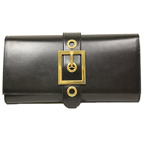 Gucci Lady Buckle Large Oversized Black Leather Clutch 323653 BNN0T 1000