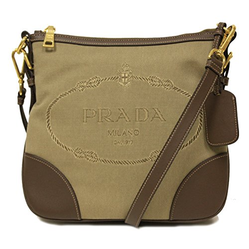 Prada Brown Leather and Canvas Corda Bruciato Crossbody Messenger Bag BT867A