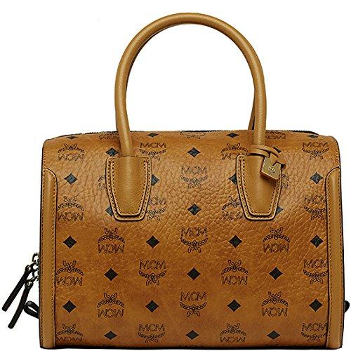 2014 AW Authentic MCM TINA VISETOS Medium Size Boston Bag Cognac and Black Color Cognac/Black MWB4AJD19CB