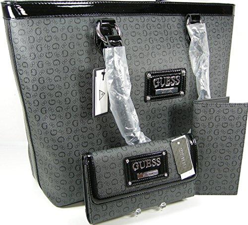 Guess Logo Purse Tote Hand Bag Checkbook Wallet 3 Piece Matching Set Coal Black