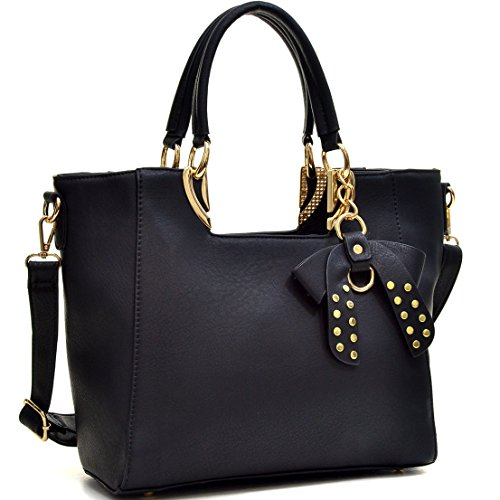 Dasein Faux Leather Structured Satchel Tote Shoulder Bag Handbag Purse with Bow Accent
