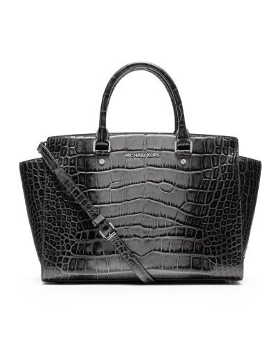 Michael Kors Gray Large Selma Topzip Croc Embossed Satchel
