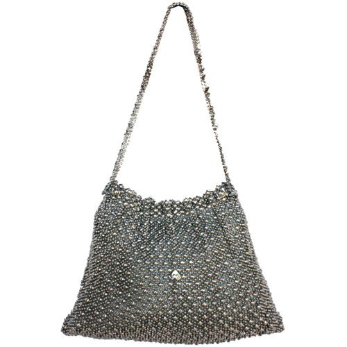 Sergio Gutierrez Liquid Metal Gathered Women's Evening Shoulder Handbag Purse