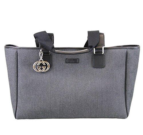 Gucci Canvas Tote Gray Handbag Bag 264216