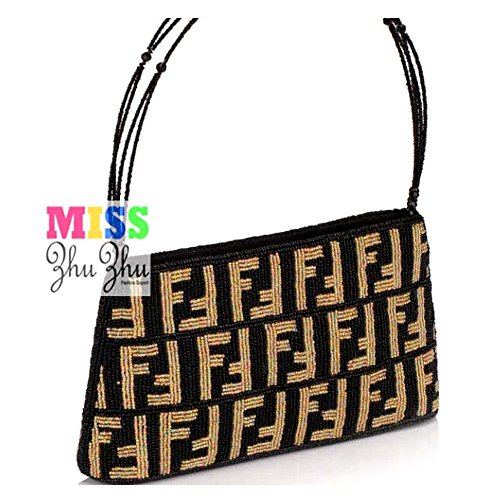 MZZ BEA104 Beaded FF Prints Handbag Vintage Evening Purse Classic Tote Bag Party Clutch Gift