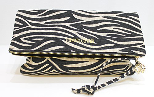 ROBERTO CAVALLI parfums zebra print hand bag / clutch bag , canvas material * new