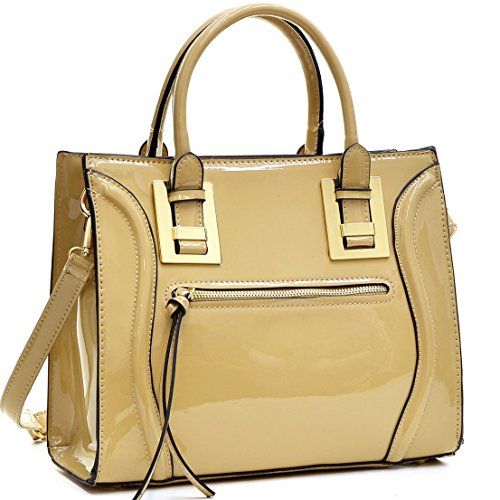 Dasein Structured Patent Leather Satchel, Tote Handbag with Zipper Front Pocket