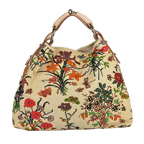 Gucci Women's Embroidered Leather Trimmed Hobo handbag Shoulder Bag