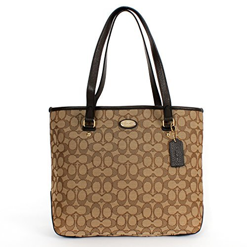 Coach Outlined Signature Zip Tote Shoulder Bag 36185