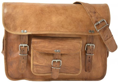 """Gusti Leder nature """"Nick"""" Genuine Leather Satchel Cross-Body Shoulder Messenger 15.6″ Laptop College Uni Casual Everyday Vintage Bag Brown Unisex U16"""