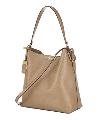Lauren Ralph Lauren Tate Hobo Tote Shoulder Bag Handbag (Medium Brown)