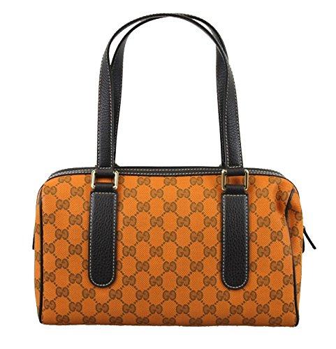 Gucci Canvas Orange Charmy Boston Handbag Satchel Bag 257289