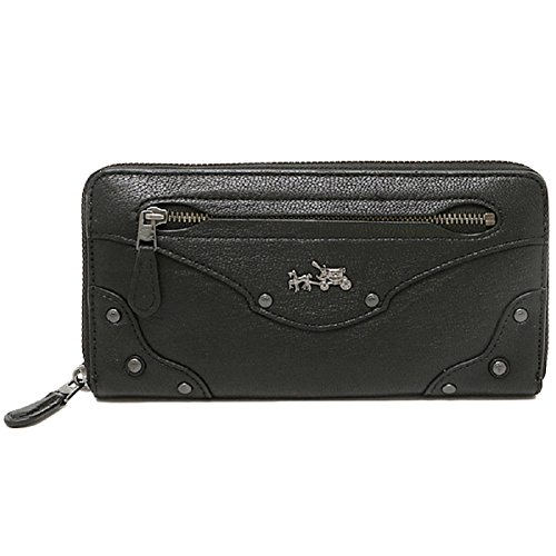 Coach Leather Rivets Accordion Zip Around Wallet 52362 Black
