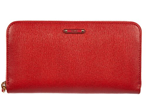 Fendi women's wallet leather coin case holder purse card bifold elite red