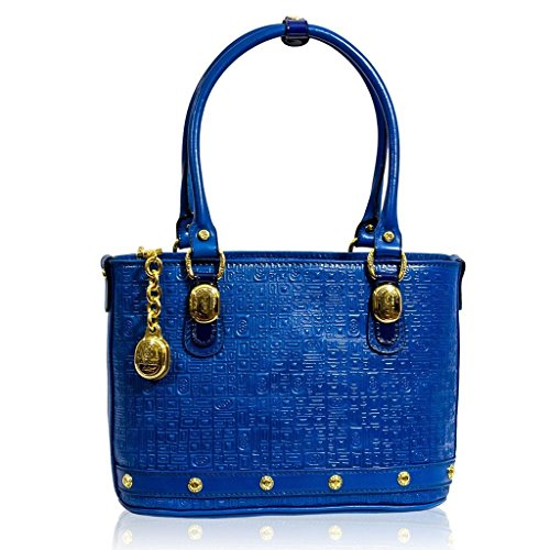 Marino Orlandi Italian Designer Aquamarine Blue Textured Leather Tote Purse Bag