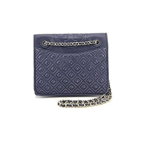 Tory Burch Fleming Medium Womens Blue Purse Leather Shoulder Bag