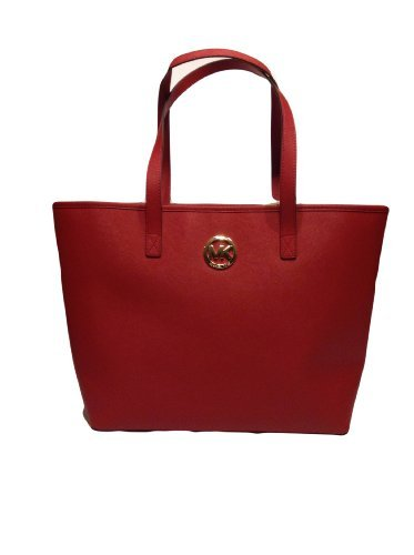 Michael Kors Jet Set Travel Medium Leather Tote Red