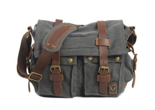Blueblue Sky Men Casual Leather Canvas Shoulder Messenger Handbag Bag#2138