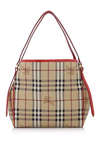 Burberry Woman's Canterbury Beige Haymarket Check Leather Tote Handbag