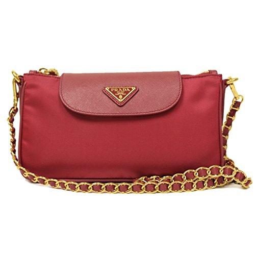 Prada Pink Tessuto Saffiano Nylon Leather Chain Handle Crossbody Shoulder Bag BT0779