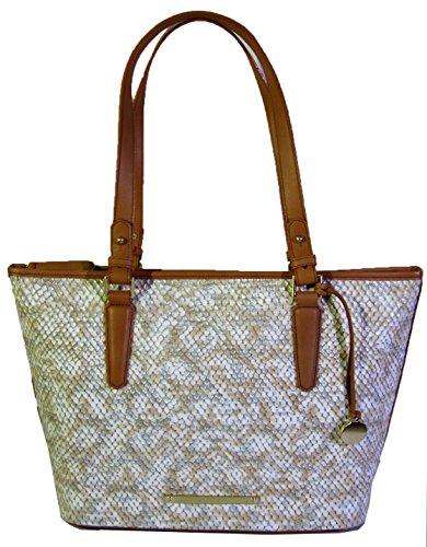 Brahmin Genuine Leather Medium Asher Beige Parker Tote Bag