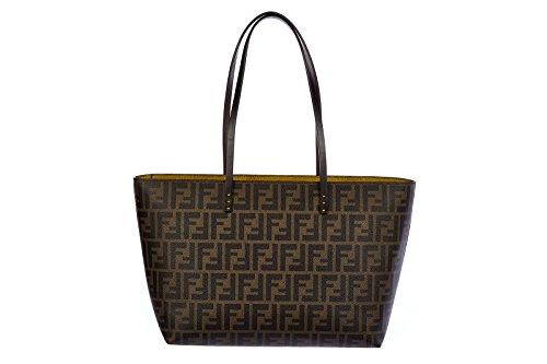 Fendi women's leather shoulder bag original zucca teorema brown