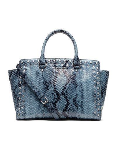 Michael Kors Large TZ Jewel Selma SnakePrint Satchel