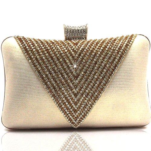 Kaxidy Beaded Clutch Bag Evening Handbags Designer Wedding Satin Diamond Gold