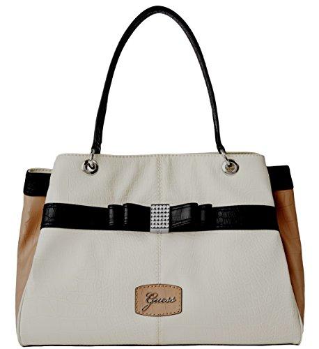 GUESS Hesperia Large Satchel Tote Bag Handbag Purse, Cream Multi