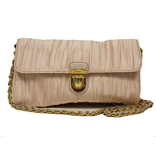 Prada Tessuto Jacquar Pink Satin and Leather Chain Crossbody Evening Bag BP0584