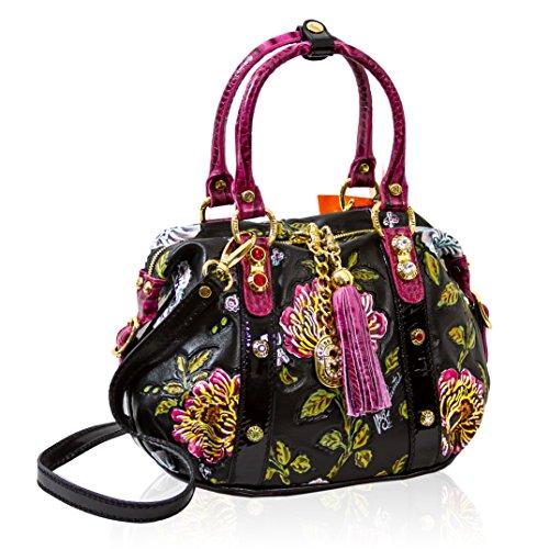 Marino Orlandi Itaian Designer Handpainted Leather w/Pink Flowers Crossbody Bag